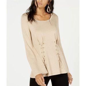 New Thalia Sodi Metallic Lace Up Sweater Top